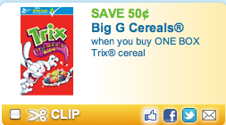 New Trix Cerealand Other Cereal Coupons
