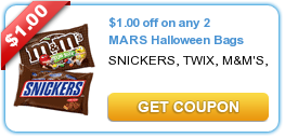 $1.00 off on any 2 MARS Halloween Bags