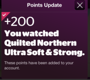 200 Viggle Points For Checking into Quilted Northern Commercial