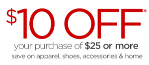 $10 Off $25 Jc Penney Coupon