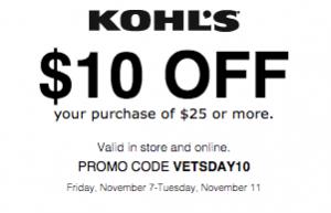 Kohls 10 off 25