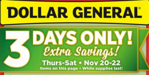 Dollar General 3 day sale
