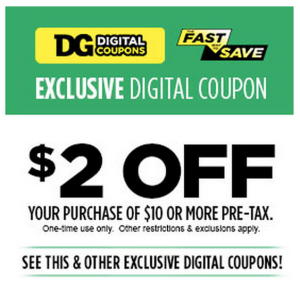 Dollar General $2 off $10 Digital COupon