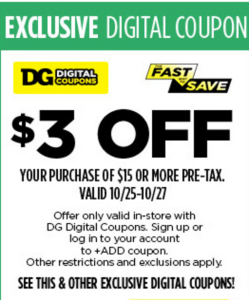 Dollar General $3 off $15 coupon
