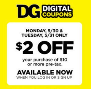Dollar General $2 off $10