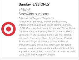 target 10 percent off