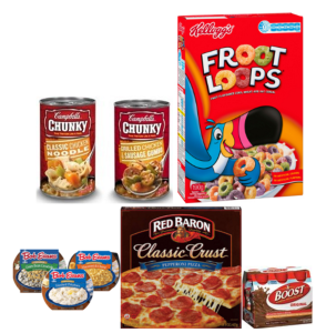 New Campbells Soup, Bob Evans Side Dish, Kelloggs Froot Loops, Red Baron Pizzas, & Boost Coupons