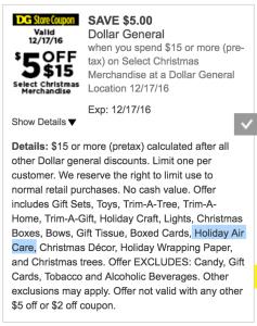 Dollar General $5 off $15 Holiday