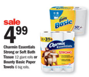 Meijer: Charmin Essentials Toilet Paper or Bounty Basic Paper Towel ONLY $3.99