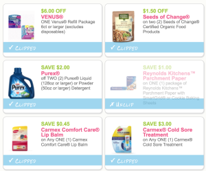 picture regarding Venus Printable Coupons identified as Fresh Purex, Sara Lee, Reynolds, Folgers, Carmex, Glutino