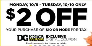 dollar general 2 off 10 digital coupon
